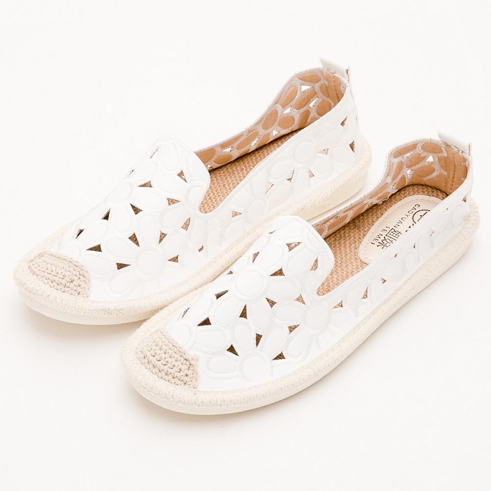 River&Moon樂福鞋-花朵簍空麻編Q軟懶人便鞋-白