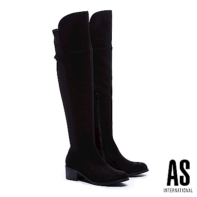長靴 AS 俐落線條異材質拼接麂布純色彈力高跟過膝長靴-黑