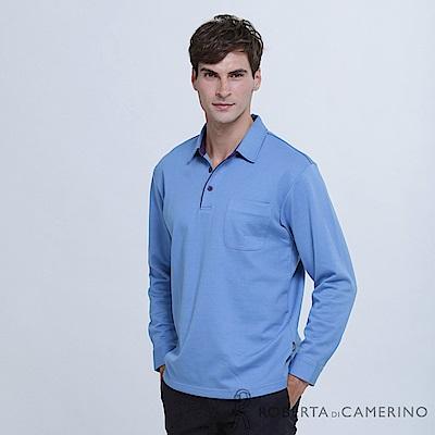 ROBERTA諾貝達 日本進口 簡約百搭 素面長袖POLO棉衫  藍紫