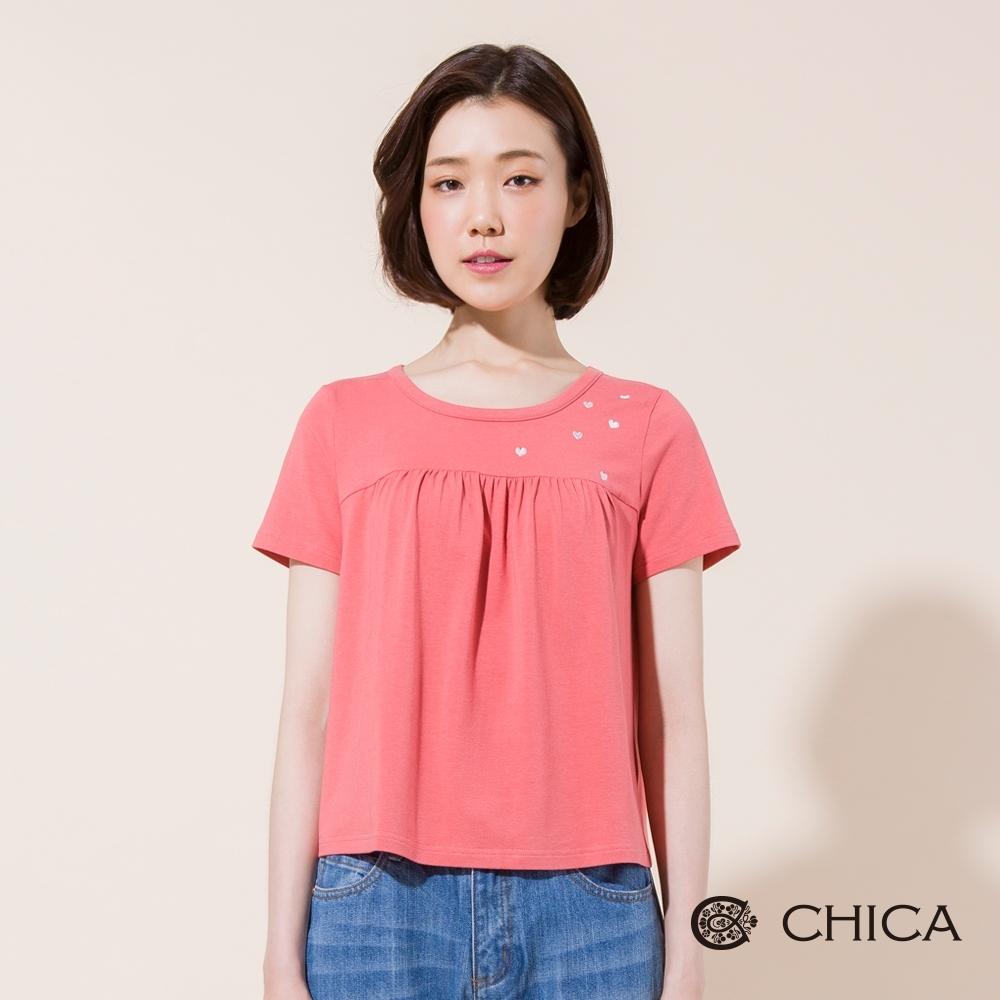 CHICA 美好日常愛心點綴傘擺T恤(2色)