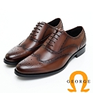 GEORGE 喬治皮鞋 經典漸層雕花綁帶紳士皮鞋-咖啡色
