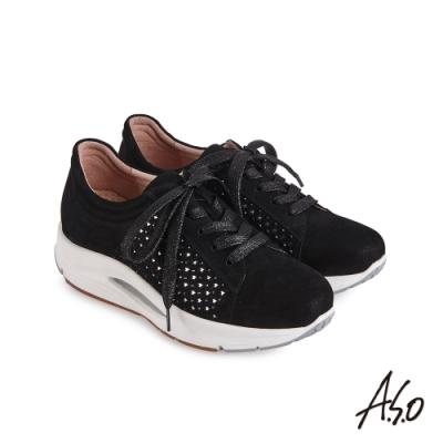 A.S.O 機能休閒 3D超動能羊皮側邊燙鑽休閒鞋-黑