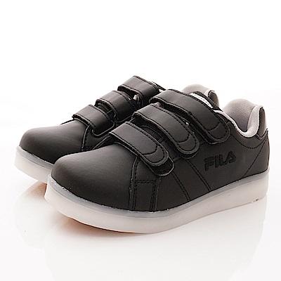 FILA頂級童鞋 電燈板鞋款 FO09T-010黑(中大童段)