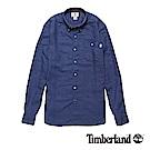 Timberland 男款藍色素面單口袋亞麻長袖襯衫