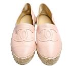CHANEL 經典Espadrilles小香LOGO小羊皮草編鉛筆鞋(裸粉色)