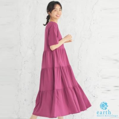 earth music 有機棉分層式蛋糕裙素面洋裝