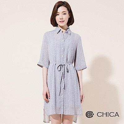 CHICA 琉璃光影圓點腰綁帶襯衫洋裝(2色)