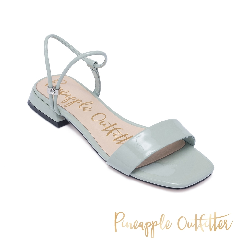 Pineapple Outfitter 夏日繽紛一字帶方頭低跟涼鞋-鏡翠綠