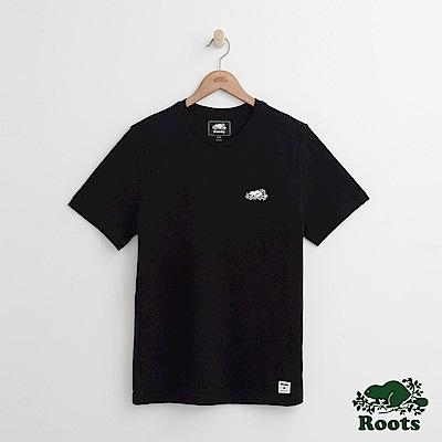 Roots 男裝-左胸海狸短袖T恤-黑色