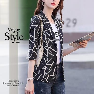2F韓衣-優雅款顯瘦幾何圖案造型西裝外套-2色(M-XL)