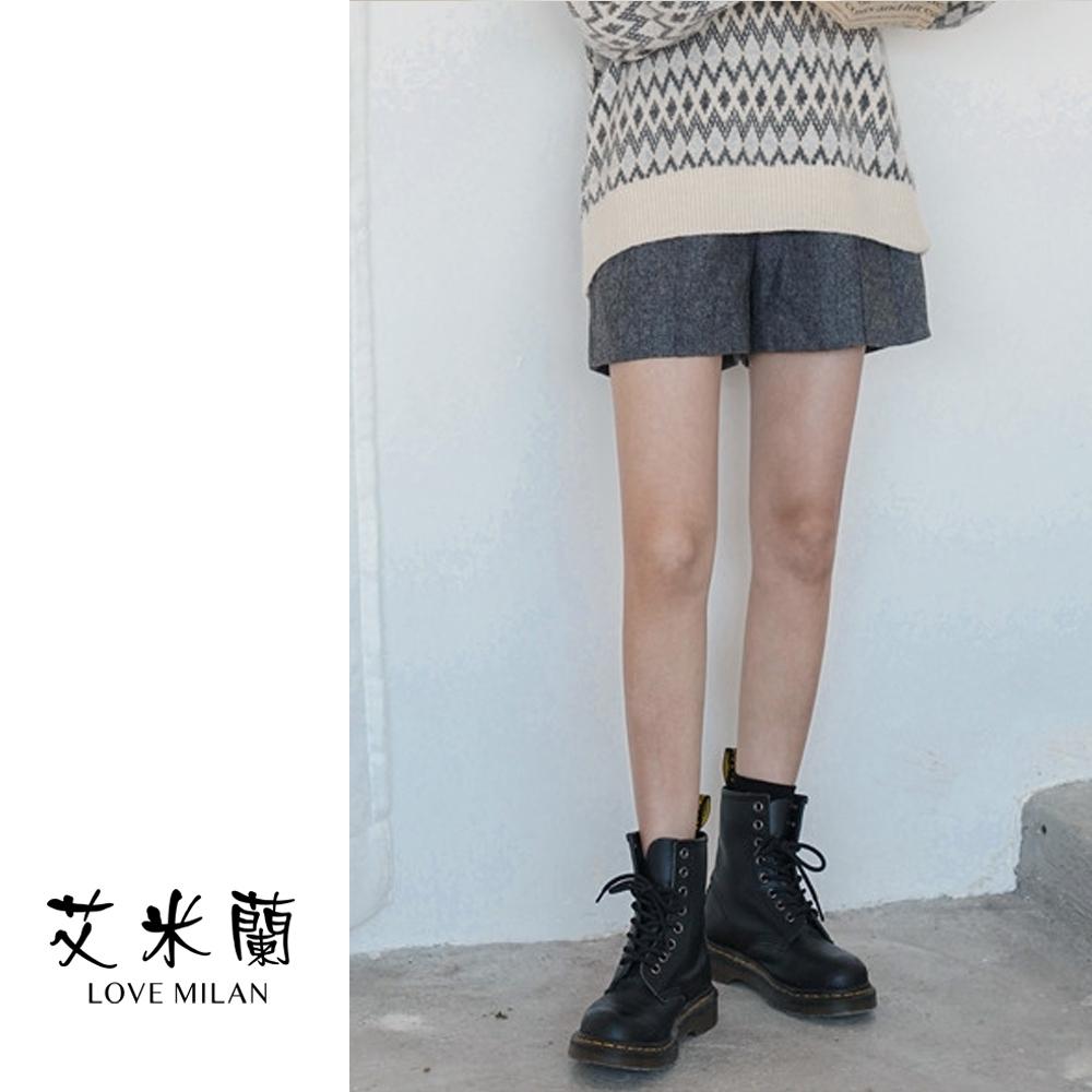 艾米蘭-簡約壓摺毛呢短褲-2色(S-L)