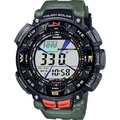 CASIO 卡西歐PRO TREK 戶外運動太陽能電子錶-墨綠 PRG-240-3