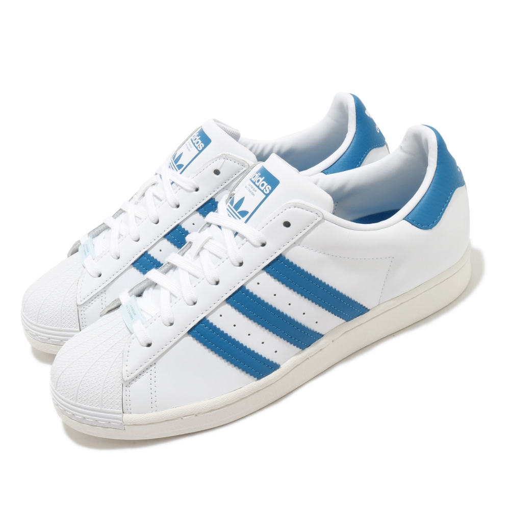 adidas 休閒鞋 Superstar 復古 低筒 男鞋 愛迪達 三葉草 貝殼頭 皮革鞋面 穿搭 白 藍 FW4406