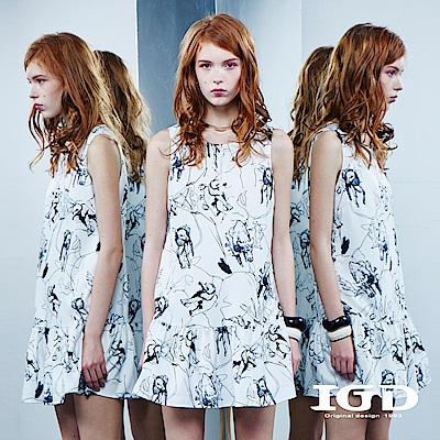 IGD英格麗 趣味動物印花荷葉洋裝
