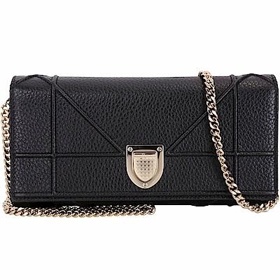 Dior DIORAMA 籐格盾牌金屬扣小牛皮鍊帶包(黑色)