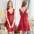 大尺碼Annabery酒紅色寬肩帶透視雪紡二件式睡衣 紅L-2L Annabery