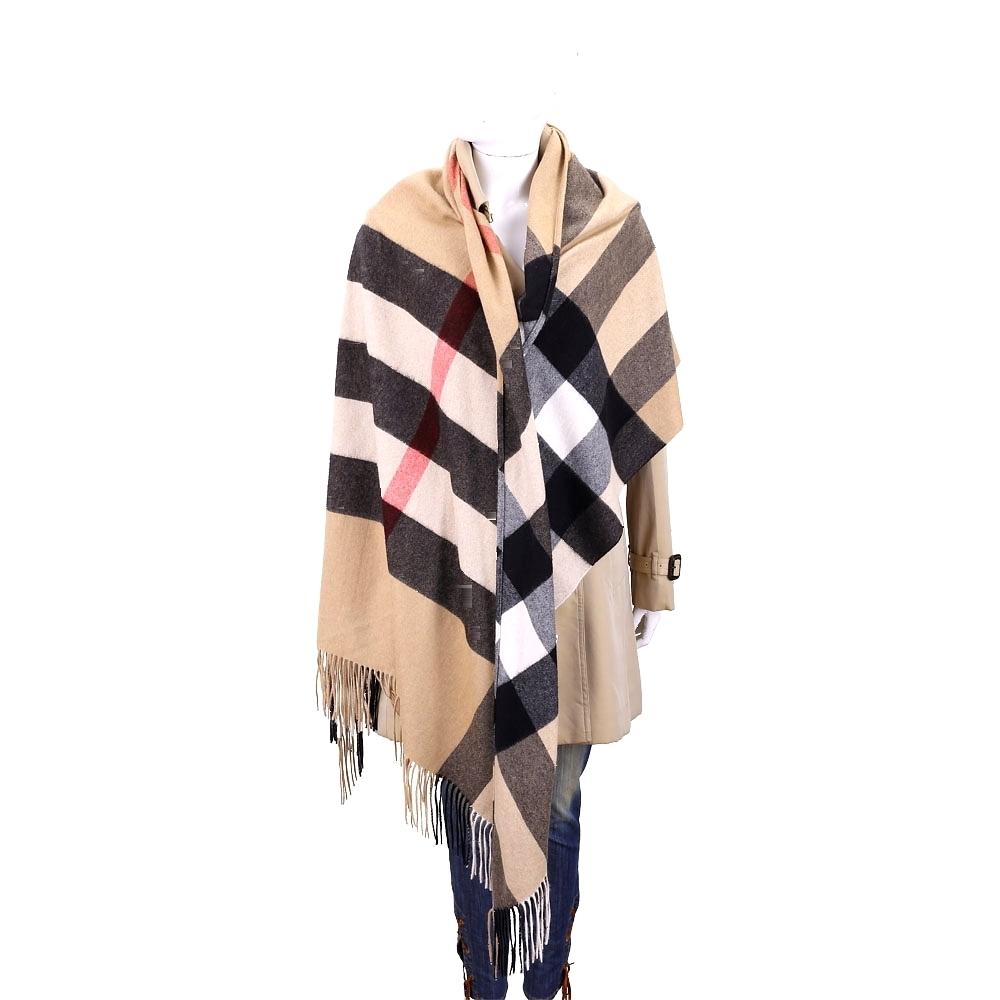 BURBERRY 240x117cm 喀什米爾羊毛經典格紋披肩/圍巾