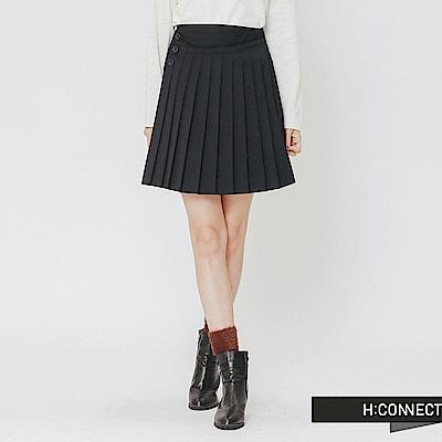 H:CONNECT 韓國品牌 女裝-單排釦拼接百摺短裙-藍