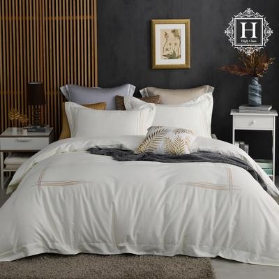 【HOYA H Series 】加大頂級500織刺繡匹馬棉被套床包四件組-白玉