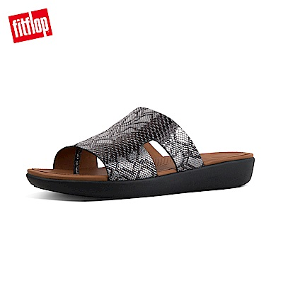 FitFlop H-BAR蛇紋厚底涼鞋黑色