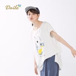 【Dailo】手繪印花寬版上衣(三色)