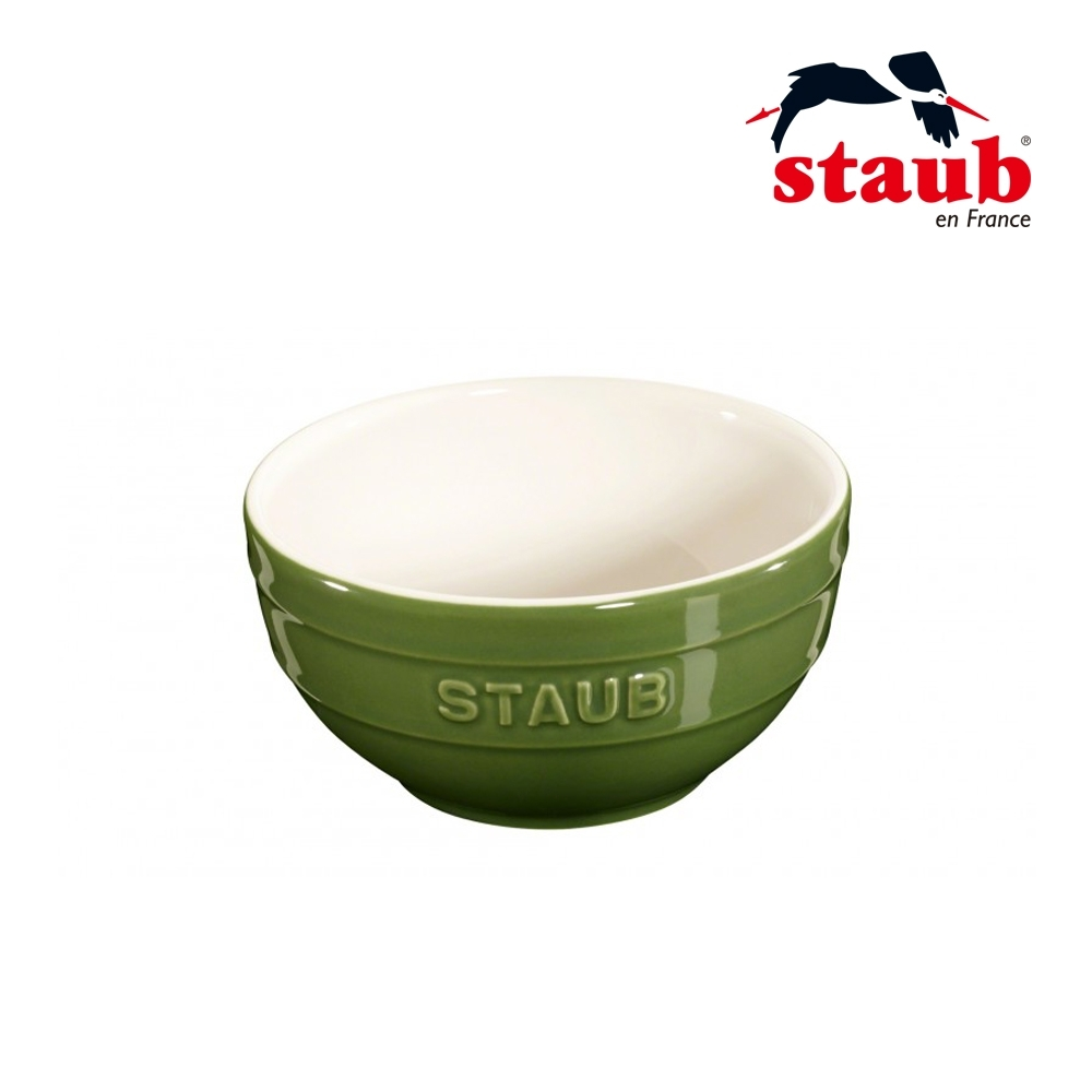 法國Staub 圓型陶瓷碗12cm  羅勒綠
