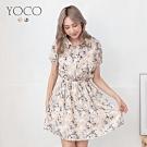 東京著衣-YOCO 極緻優雅印花排釦腰鬆緊洋裝-S.M.L(共二色)