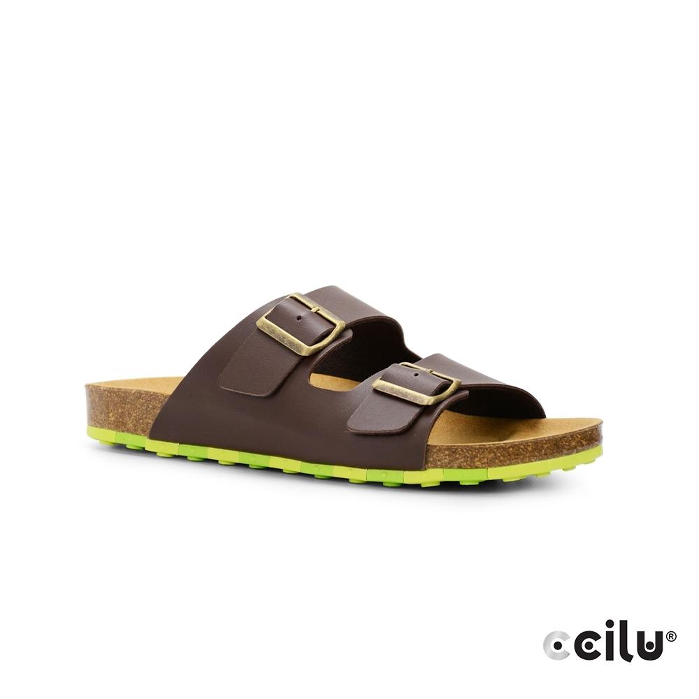 CCILU 雙帶皮革平底拖鞋-男款-801001002咖啡色