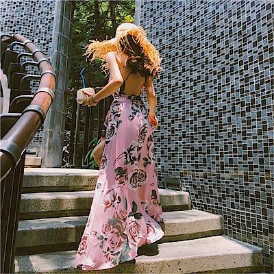 DABI 韓國風復古海灘度假長裙露背沙灘裙海邊波西米亞吊帶裙無袖洋裝