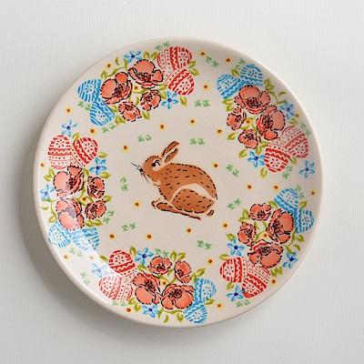 波蘭陶手工製 小兔花園 淺底圓形餐盤19cm