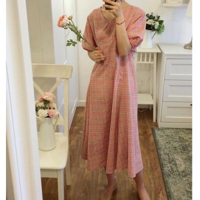 2F韓衣-簡約氣質格紋修身造型洋裝-2色(F)