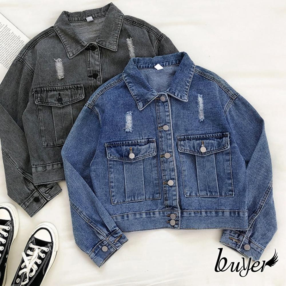 【白鵝buyer】丹寧 韓風挺版質感牛仔外套(藍色)