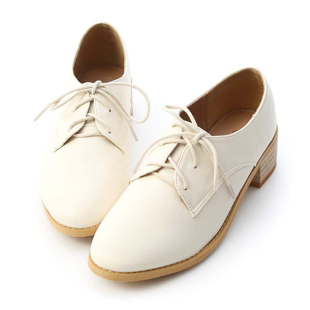 D+AF 知性學院.素面綁帶木紋跟牛津鞋*米