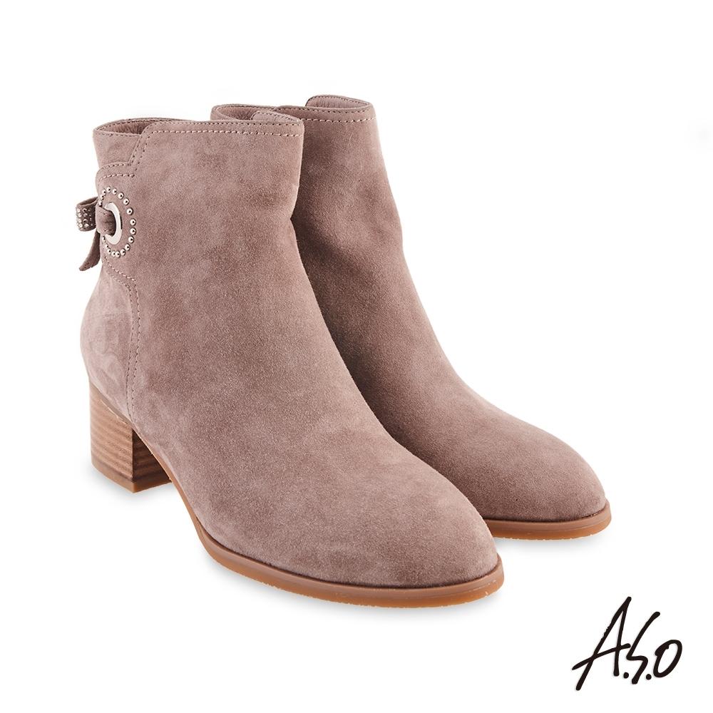 A.S.O  時尚流行 燙鑽蝴蝶結鉚釘真皮短靴-灰褐