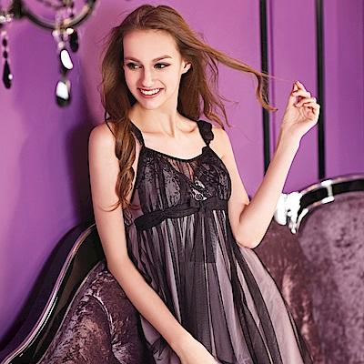 華歌爾睡衣-小心機 M-LL 細帶短裙(薄紗黑)性感系列