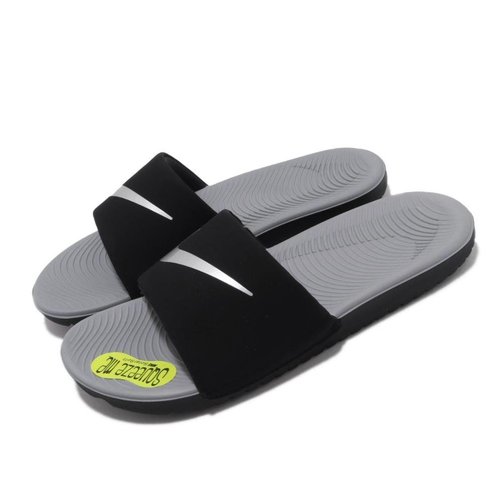 Nike 涼拖鞋 Kawa Slide GS 套腳 女鞋 基本款 簡約舒適 大logo 大童 穿搭 黑 銀 819352009