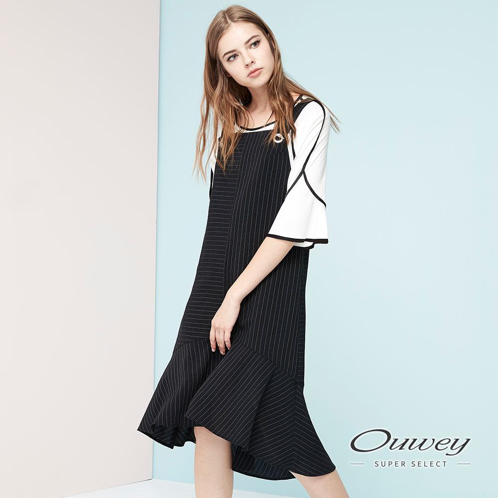 OUWEY歐薇 不規則線條吊帶洋裝(黑)
