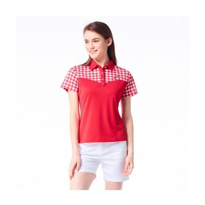 【Jack Nicklaus】金熊GOLF女款剪接吸濕排汗POLO衫-紅色
