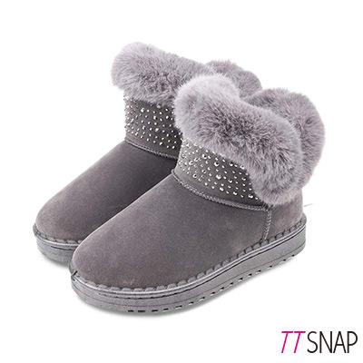 TTSNAP雪靴-鍍色水鑽閃亮仿牛麂皮中筒靴 灰