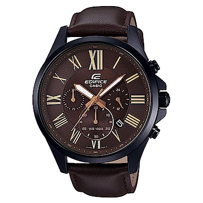 EDIFICE 經典羅馬時刻大錶面時尚皮帶腕錶(EFV-500BL-1A)咖啡面/48mm