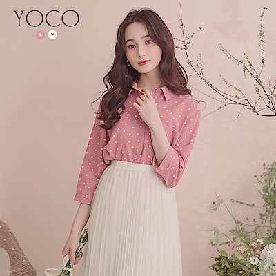 東京著衣-YOCO 甜美可愛滿版愛心排釦襯衫-S.M.L(共兩色)
