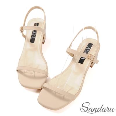 山打努SANDARU-涼鞋 簡約一字帶側釦方頭低跟涼鞋-米