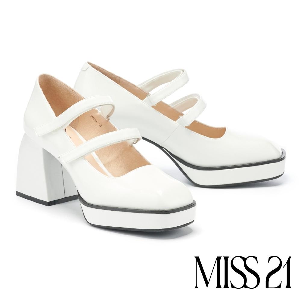 高跟鞋 MISS 21 小叛逆復古胖胖粗跟方頭瑪莉珍高跟鞋-白