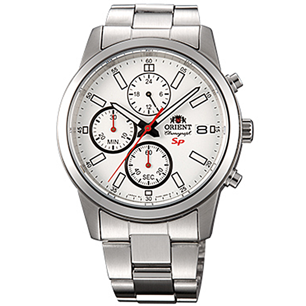 ORIENT 透徹時光三眼計時運動石英腕錶鋼帶(FKU00003W0)-白x42mm