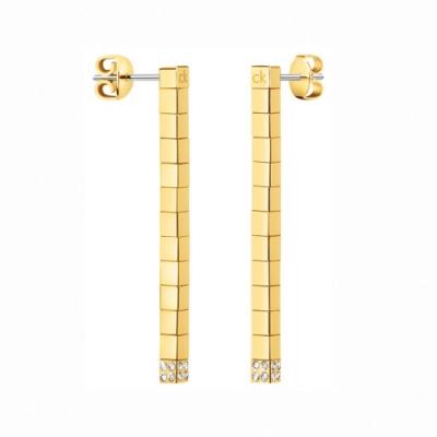 CALVIN KLEIN Tune 系列方塊造型香檳金耳環