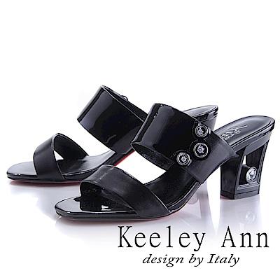 Keeley Ann 漆皮質感~俐落個性金屬飾釦真皮粗跟拖鞋(黑色-Ann)