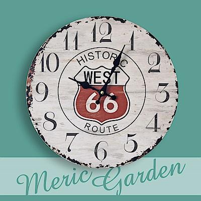 【Meric Garden】風格仿舊裝飾壁掛式時鐘/壁鐘/掛鐘(Route66)