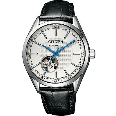 CITIZEN星辰 限量鏤空紳士機械錶(NH9111-11A)-白x黑/40mm