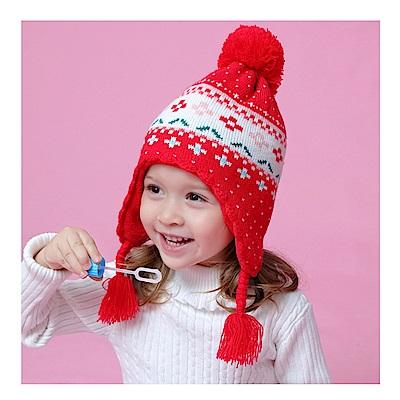 (kidwowo)歐美喜氣紅秋冬保暖童帽