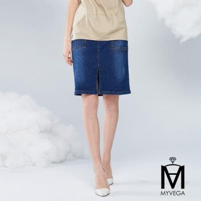 MYVEGA麥雪爾 MA高含棉大口袋水鑽牛仔短裙-藍